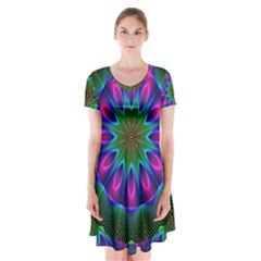 Star Of Leaves, Abstract Magenta Green Forest Short Sleeve V Neck Flare Dress