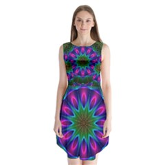 Star Of Leaves, Abstract Magenta Green Forest Sleeveless Chiffon Dress