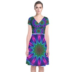 Star Of Leaves, Abstract Magenta Green Forest Short Sleeve Front Wrap Dress