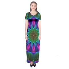 Star Of Leaves, Abstract Magenta Green Forest Short Sleeve Maxi Dress
