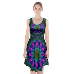Star Of Leaves, Abstract Magenta Green Forest Racerback Midi Dress