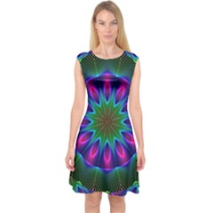 Star Of Leaves, Abstract Magenta Green Forest Capsleeve Midi Dress