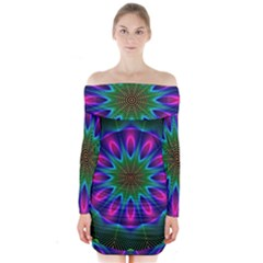 Star Of Leaves, Abstract Magenta Green Forest Long Sleeve Off Shoulder Dress