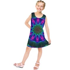 Star Of Leaves, Abstract Magenta Green Forest Kids  Tunic Dress