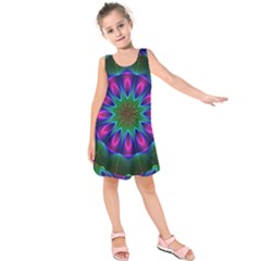 Star Of Leaves, Abstract Magenta Green Forest Kids  Sleeveless Dress