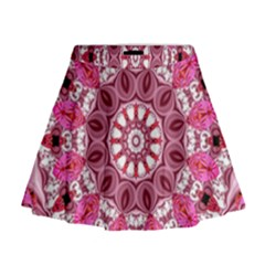 Twirling Pink, Abstract Candy Lace Jewels Mandala  Mini Flare Skirt