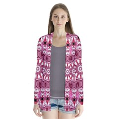Twirling Pink, Abstract Candy Lace Jewels Mandala  Cardigans