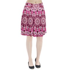 Twirling Pink, Abstract Candy Lace Jewels Mandala  Pleated Skirt