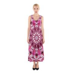 Twirling Pink, Abstract Candy Lace Jewels Mandala  Sleeveless Maxi Dress