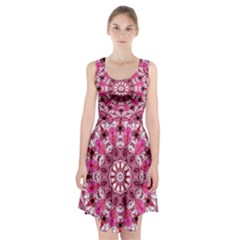 Twirling Pink, Abstract Candy Lace Jewels Mandala  Racerback Midi Dress