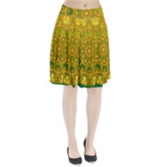 Yellow Green Abstract Wheel Of Fire Pleated Skirt