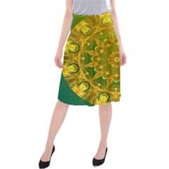 Yellow Green Abstract Wheel Of Fire Midi Beach Skirt