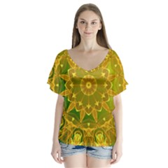 Yellow Green Abstract Wheel Of Fire Flutter Sleeve Top