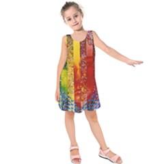 Conundrum I, Abstract Rainbow Woman Goddess  Kids  Sleeveless Dress
