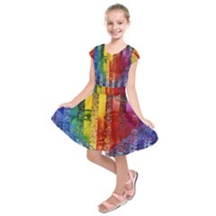 Conundrum I, Abstract Rainbow Woman Goddess  Kids  Short Sleeve Dress