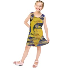 Conundrum Ii, Abstract Golden & Sapphire Goddess Kids  Tunic Dress