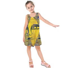 Conundrum Ii, Abstract Golden & Sapphire Goddess Kids  Sleeveless Dress