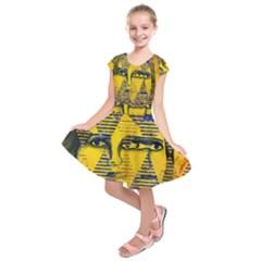 Conundrum Ii, Abstract Golden & Sapphire Goddess Kids  Short Sleeve Dress
