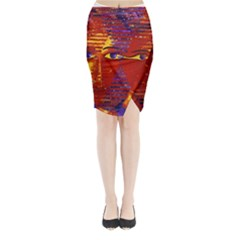 Conundrum Iii, Abstract Purple & Orange Goddess Midi Wrap Pencil Skirt