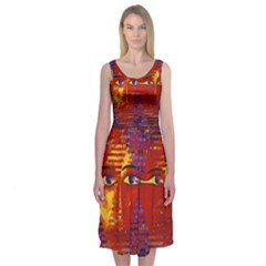 Conundrum Iii, Abstract Purple & Orange Goddess Midi Sleeveless Dress