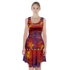 Conundrum Iii, Abstract Purple & Orange Goddess Racerback Midi Dress