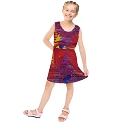 Conundrum Iii, Abstract Purple & Orange Goddess Kids  Tunic Dress
