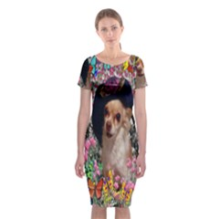 Chi Chi In Butterflies, Chihuahua Dog In Cute Hat Classic Short Sleeve Midi Dress