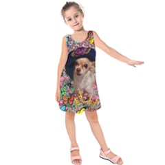 Chi Chi In Butterflies, Chihuahua Dog In Cute Hat Kids  Sleeveless Dress