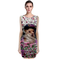 Chi Chi In Flowers, Chihuahua Puppy In Cute Hat Classic Sleeveless Midi Dress