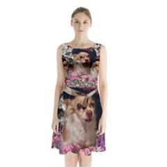 Chi Chi In Flowers, Chihuahua Puppy In Cute Hat Sleeveless Chiffon Waist Tie Dress