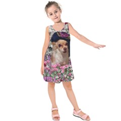 Chi Chi In Flowers, Chihuahua Puppy In Cute Hat Kids  Sleeveless Dress