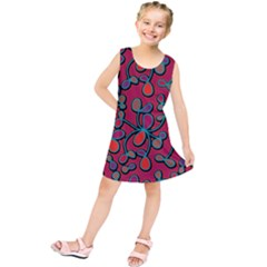 Red Floral Pattern Kids  Tunic Dress
