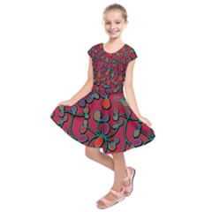 Red Floral Pattern Kids  Short Sleeve Dress