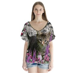 Emma In Flowers I, Little Gray Tabby Kitty Cat Flutter Sleeve Top