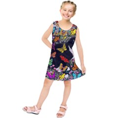 Freckles In Butterflies I, Black White Tux Cat Kids  Tunic Dress