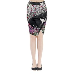 Freckles In Flowers Ii, Black White Tux Cat Midi Wrap Pencil Skirt