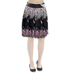 Freckles In Flowers Ii, Black White Tux Cat Pleated Skirt