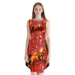 Flame Delights, Abstract Red Orange Sleeveless Chiffon Dress