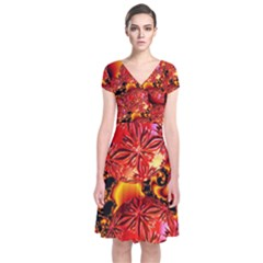 Flame Delights, Abstract Red Orange Short Sleeve Front Wrap Dress