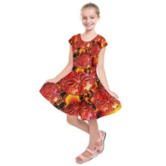 Flame Delights, Abstract Red Orange Kids  Short Sleeve Dress