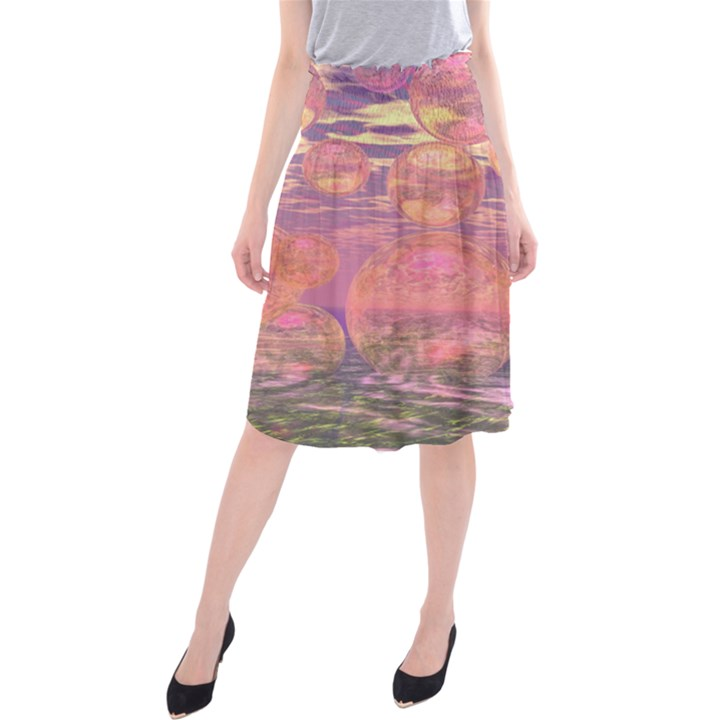 Glorious Skies, Abstract Pink And Yellow Dream Midi Beach Skirt