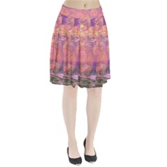 Glorious Skies, Abstract Pink And Yellow Dream Pleated Skirt