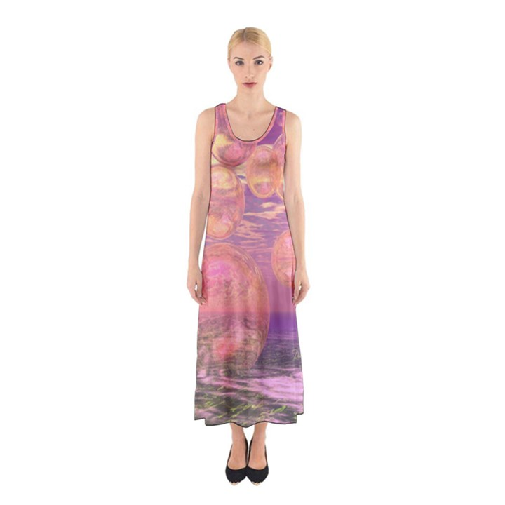Glorious Skies, Abstract Pink And Yellow Dream Sleeveless Maxi Dress