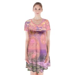 Glorious Skies, Abstract Pink And Yellow Dream Short Sleeve V Neck Flare Dress