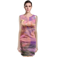 Glorious Skies, Abstract Pink And Yellow Dream Classic Sleeveless Midi Dress
