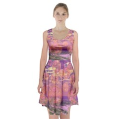 Glorious Skies, Abstract Pink And Yellow Dream Racerback Midi Dress