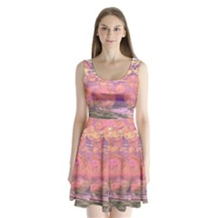 Glorious Skies, Abstract Pink And Yellow Dream Split Back Mini Dress