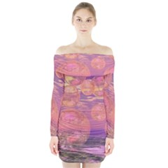 Glorious Skies, Abstract Pink And Yellow Dream Long Sleeve Off Shoulder Dress