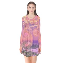 Glorious Skies, Abstract Pink And Yellow Dream Flare Dress
