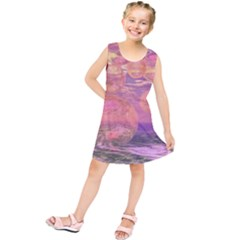 Glorious Skies, Abstract Pink And Yellow Dream Kids  Tunic Dress